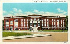 Lake Charles Louisiana LA 1916 Lake Charles Academy Convent Vintage Postcard