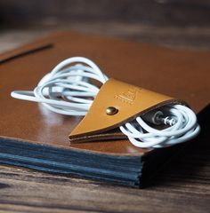 Leather Cord Holder  Earbud Cable Cord Organizer  by ES Corner www.es-corner.com
