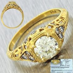 This is a gorgeous 1900s Antique Victorian 14k Solid Yellow Gold 1.02ct Old European Cut Diamond Engagement Ring. This ring has an estimated retail price of $10