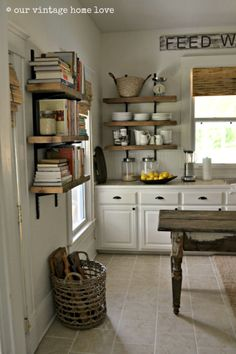 reclaimed wood open shelving | while i show you pictures of the