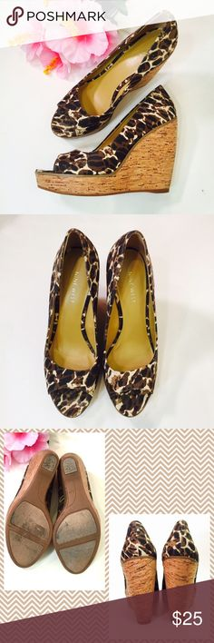 """NINE WEST platform wedge Fun cheetah-like print peep toe wedge by Nine West. 4.5"""" cork wedge with 1"""" platforms so it's really a 3.5"""" heel rise, rubber soles. Gently used and is in excellent condition. ❌trade bundle discount ✍make an offer❣16040705 Nine West Shoes Wedges"""