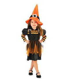 Take a look at this Orange & Black Stripe Witch Dress-Up Set - Toddler & Girls on zulily today!