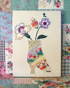 """""""Whimsical Boot with Two flowers"""" -  Fabric Collage By Mary Maki Rae -2013(c)"""