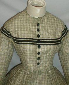 Enchanting 1860's Civil War Era Green Cotton Print Dress | eBay