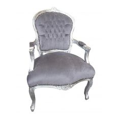 Silver And Grey Upholstered Armchair