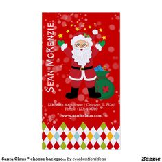#SantaClaus #BusinessCard #christmas Available in different products. Check more at www.zazzle.com/celebrationideas