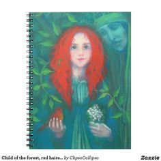 Child of the forest, red haired girl, green shades spiral notebook  #red, #hair, #haired, #green, #forest, #magical, #fantasy, #art, #orange, #green, #ginger, #celtic, #irish, #dryad, #ireland, #girl, #painting, #drawing, #fairytale, #pagan, #child, #pastel, #redhead, #emerald, #faerie, #bird, #kid, #hair, #red, #magic, #goddess, #folklore, #ancient, #legend, #fairy, #Erin, #stpatrickday,  #st, #saint, #patrick, #patricks, #day,