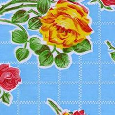 Retro 1940s Roses on an Aqua Grid Oilcloth Fabric. One of our oldest and most popular Vintage Prints. Oilcloth is 47 wide and wipes clean with a damp cloth! this gorgeous vintage print makes a beautiful tablecloth, placemat or tote bag which are all Made in U.S.A.  When you buy more than 1 yard of oilcloth fabric you will receive one continuous cut of fabric.  Need more yardage? We can ship up to 8 yards in a box for only $10.80 Send us an email and we will be happy to set up a custom…