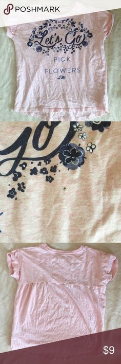 "Oshkosh ""Let's go pick flowers"" tee Oshkosh heather light pink tee with rhinestone embellishments and ""Let's go pick flowers"" in navy blue. Worn twice at most. Osh Kosh Shirts & Tops Tees - Short Sleeve"