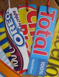 projects made with cereal boxes | Cereal Box Bookmarks