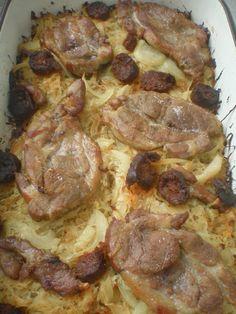 Sült tarja savanyú káposzta ágyon A savanyu kaposzta hussal parositva egy igazi, tartalmas, teli etel egy keves kolbasszal es hagymaval megbolonditva. Hozzavalok: 1 kg savanyu kaposzta -8 szelet sertes tarja -20 dkg fustolt kolbasz -2 fej voros hagyma -fuszerek, so , bors Elkeszites: A tarja szeleteket fuszerezzuk, sozzuk, borsozzuk es mindket oldalat olajon 2 percig… Pepperoni, Sausage, Pork, Food And Drink, Pizza, Cooking Recipes, Beef, Foods, Drinks