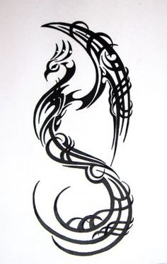 Tribal Bird Tattoos for Women | Tribal Phoenix Picture Tattoo Design.