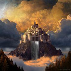 Olympus by Alex Peryan Fantasy City, Fantasy Castle, Fantasy Places, Sci Fi Fantasy, Fantasy World, Fantasy Art Landscapes, Fantasy Landscape, Landscape Art, Fantasy Concept Art