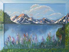 """Озеро в горах Картина """"Озеро в горах"""". Масло. Холст. 30х40. Продается с рамкой оформленной как продолжение картины."""