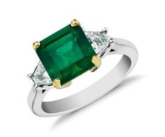 Emerald and Step-Cut Trapezoid Diamond Ring in 18k White and Yellow Gold