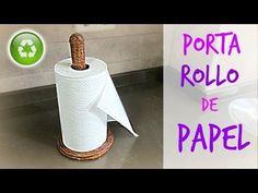 Cómo hacer un porta rollo de cocina de papel periódico. How to make a paper towel roll holder. - YouTube