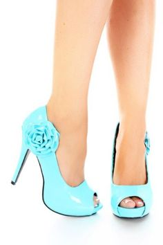 Turquoise Blue Patent Rosette Round Peep Toes Platform Heels