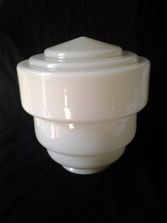 Vintage 1930's Cream Glass Beehive Lampshade