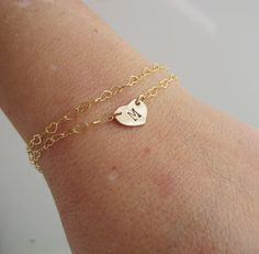 Personalized Initial Bracelet Gold Heart Initial by AdrianaSparks