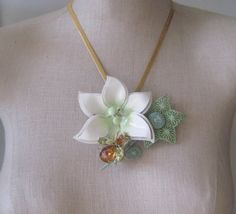 Vintage Brooch Collage Sage  Green Amber Mint by FiorellaJewelry, $80.00