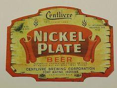 Centlivre Brewing Co.Nickel plate beer bottle label Fort Wayne Indiana