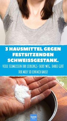 3 Hausmittel gegen festsitzenden Schweißgestank #Schweißfleck #Schweißflecken #müffelnde Kleidung #müffelndes T-Shirt #Essig #Zitronensäure #Waschsoda #Waschmaschine #Wäsche #Kleidung