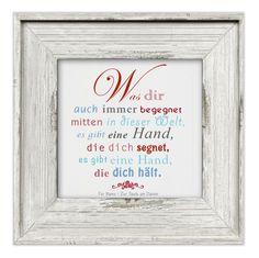 """**""""Es gibt eine Hand"""" • Leinwandbild mit Widmung • hell • 20x20cm **  Ein hübsches Geschenk zur Taufe oder zur Kommunion/Konfirmation. Die untere Zeile +""""Zur Anlass - Datum""""+ wird dem..."""