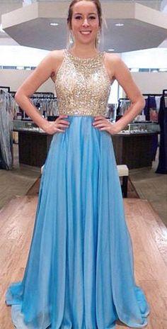 A-line Beading Floor-Length Chiffon Prom Dresses 2017