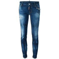 Dsquared2 'Skinny' medium waist jeans (24.875 RUB) ❤ liked on Polyvore featuring jeans, blue, distressed jeans, blue skinny jeans, metallic skinny jeans, skinny fit jeans and torn skinny jeans
