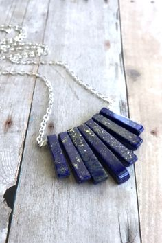 Lapis Lazuli Necklace, Natural Stone Fan Necklace, Cobalt Blue Semi Precious Gemstone Jewelry