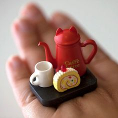 Kawaii Cute Japanese Ring - Cat Coffee Pot and Strawberry Roll Cake