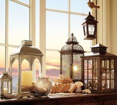 Metal and Glass Indoor/Outdoor Lanterns from http://tresorsdeluxe.wordpress.com