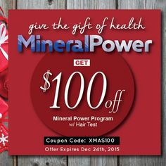 Gift giving just got easier! Give the ultimate gift of health with Mineral Power - and did I mention it's $100 off?? Use the coupon code: XMAS100 to redeem your savings now! http://store.liveto110.com