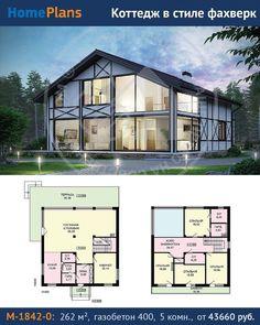 Проект M-1842-0. Простой по объему дом раскрывается необычным решением панорамного остекления задней части дома и запоминающейся стилистикой фасадов. Два этажа, заложенные в проекте, решены предельно рационально, с минимальным количеством транзитных зон и пустующих площадей. Двусветная столовая-гостиная на первом этаже занимает практически полдома и является его ядром. Из гостиной можно выйти на просторную террасу. Помимо технических помещений, на первом этаже запланирован кабинет. На…