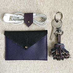 Leather Card Holder | Slim Wallet | Business Card Holder | Credit Card Holder | Slim Leather Wallet | Deep Purple and Black Leather