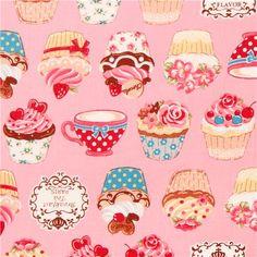 rose Cosmo cupcake tea fabric Japan 1