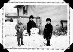 Vernon Jay Fairbrother with snowman, South St. Paul, Photo by Edward Albert Fairbrother, Minnesota Historical Society Photograph Collection. Edward Albert, Minnesota Historical Society, Vernon, Jay, Snowman, Photograph, Collections, History, Couple Photos