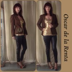 VINTAGE OSCAR DE LA RENTA WOOL BLAZER Sophisticated de la Renta brown wool blazer with front pockets & fully lined in gold satin. The lining has De La Renta embossed throughout the fabric adding a touch of class!! Very warm & comfy piece to wear with a skirt, jeans & even faux leather leggings with gold studs. Add a leopard print beaded bag, gold sequin top & pumps!! Practical & a piece of de la Renta's mark in fashion! Single breasted with 2 round wooden buttons & 3 smaller repeated on on…