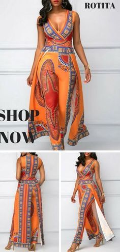 c9c133dc381d2f Dashiki Print Overlay Embellished V Neck Orange Jumpsuit.African fashion  jumpsuit is quite different