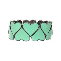 Hematite & Mint Heart Stretch Bracelet | Shop All New Arrivals ($19) ❤ liked on Polyvore