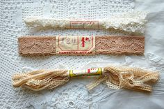 Vintage French lace, wrapped unused old new stock, original labels, lace with labels, 3 lace bundles, French lace, collectors lace bundles 1