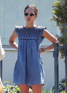 Hot weather smocking - Jessica Alba's denim mini summer dress
