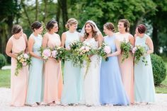 Pastel Mismatched Bridesmaid Dresses for Your Modern Wedding