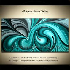 MADE2ORDER Emerald Swirl Unique Large Oil Painting Modern Red Abstract Art Texture Palette Knife art ORIGINAL artwork by Maitreyii 48 x 24. $380.00, via Etsy.