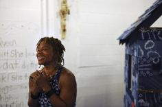"""For her Indigo Project solo exhibition, textile artist Ifé Franklin (pictured) has created an 8-foot slave cabin in patchwork adire (""""tie an..."""