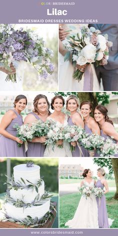 White Wedding Cakes Lilac bridesmaid dresses short and long, 500 custom-made styles, affordable under good with lilac and white wedding cakes, bouquets. Lilac Wedding Themes, Lavender Wedding Colors, Light Purple Wedding, Sage Wedding, Wedding Color Schemes, Rustic Purple Wedding, Lavender Weddings, Summer Weddings, Gold Wedding