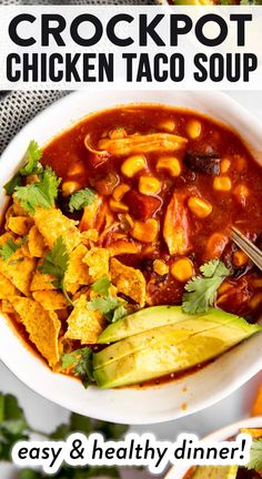 This crockpot chicken taco soup is SO incredibly easy to put together - just dump and start! Warming, filling and perfect for busy weeknights with the family. | #crockpot #slowcooker #souprecipe #chickenrecipe #chickendinner #soup #winterrecipes #healthyfood #healthyrecipes