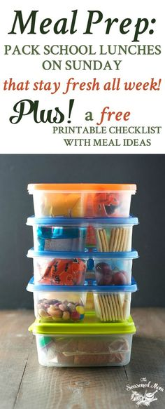 Meal Prep: How to Pack School Lunches on Sunday that Stay Fresh All Week! #backtoschool #printable