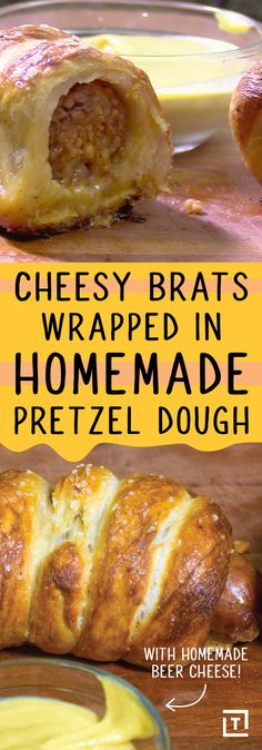 Cheesy Brats Wrapped in Pretzel Dough – German Food Box Cheesy Brats Wrapped in Pretzel Dough Cook up your Bratwurst in some German beer, stuff 'em with homemade Gruyére beer cheese, and wrap them up in homemade pretzel dough for a tasty corndog twist. Bratwurst Recipes, Sausage Recipes, Cooking Recipes, Pork Recipes, Vegetarian Recipes, Bratwurst Sausage, Sausages, Pretzel Dough, Pretzel Bread