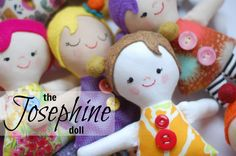 """FREE PATTERN: The Josephine Doll posted by Abby Glassenberg Making these dolls meant pulling out my scrap bin and button box and having a wonderful time pairing up patterns and prints. Each doll has felt hair and some have felt balls as pigtails, too. Josephine Doll Templates and print them out. Be sure your printer is set to """"actual size."""" You'll cut along the outer lines and sew along the inner lines."""